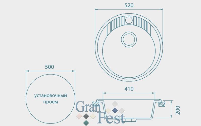 Мойка  GranFest  RONDO 520 - 2
