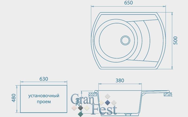 Мойка  GranFest  RONDO 650L - 2