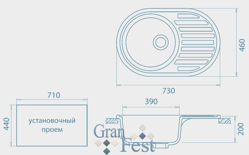 Мойка  GranFest  RONDO 730L - 2