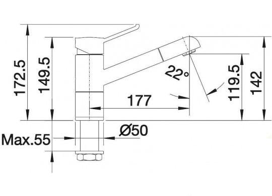Смеситель для кухни с выдвижным душем BLANCO ZENOS-S - 2