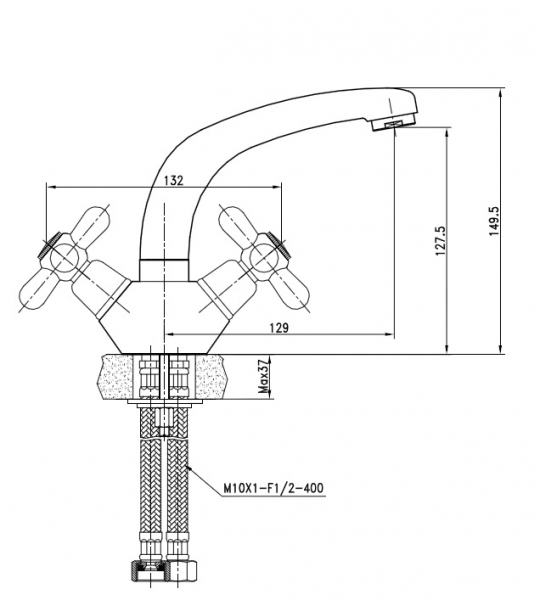 KAISER Carlson 11011 Смеситель для раковины с двумя рукоятками - 1