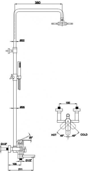 KAISER  34188  бронза   Душевая система с изливом, 3-х режимная - 1