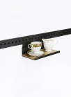 Полка одинарная с деревянной вставкой на рейлинги черный бархат - 2547
