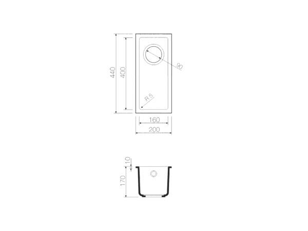 Мойка гранитная для подстольного монтажа Omoikiri Bosen 20-U - 1