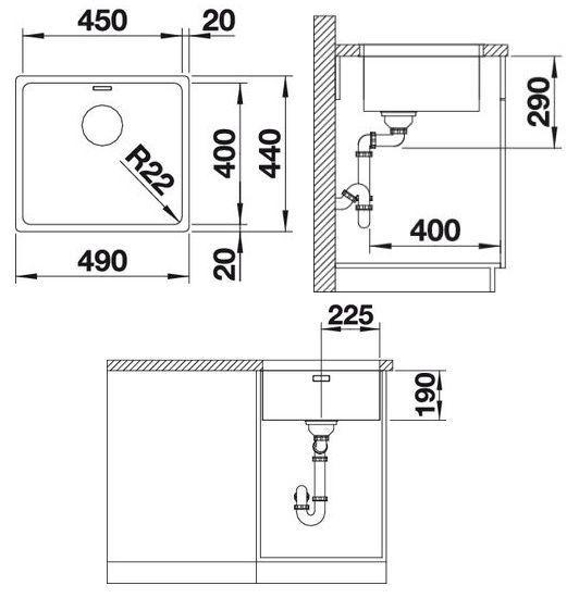 Мойка из нержавеющей стали для подстольного монтажа BLANCO ANDANO 450-U - 1