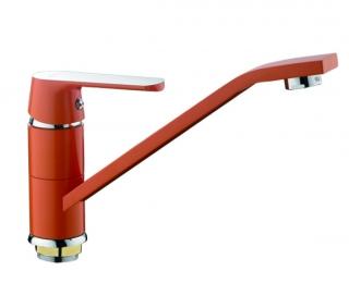 Смеситель для кухни (оранжевый/хром) Frap 4932 - 2808