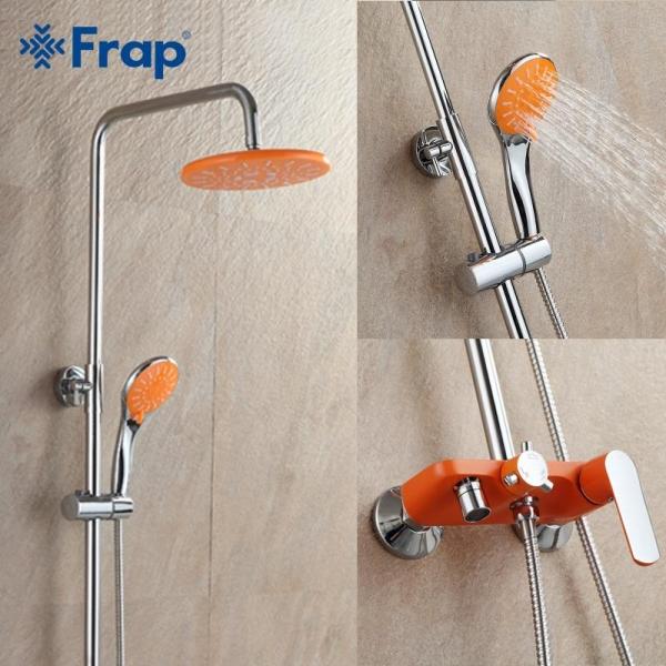 Душевая система с поворотным изливом, смесителем, верхним душем и лейкой Frap 2432 (оранжевый/хром)  - 3