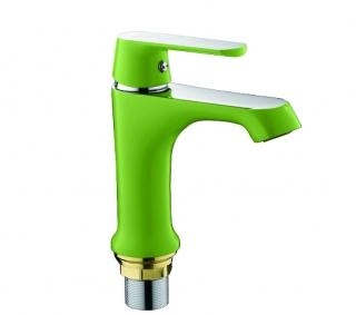 Смеситель на раковину с гайкой (хром / зеленый) Frap 1033
