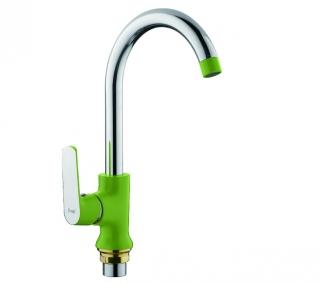 Смеситель для кухни с гайкой (зеленый /хром) Frap 4033