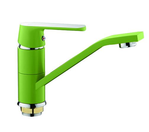 Смеситель для раковины (кухонной мойки) Frap 4533 (зеленый /хром) - 1