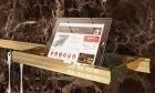 Полка навесная (250 х 110 мм) на рейлинги модерн с отделкой золото с кристаллами Swarovski  Barra Lemi - 2902