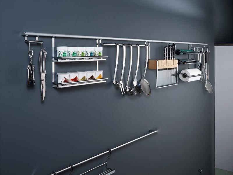 Сушка для посуды на рейлинги модерн хром матовый Linero 2000 Kessebohmer - 3