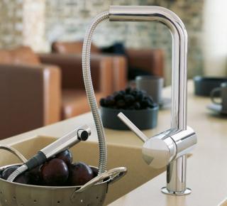 Смеситель для кухонной мойки с выдвижным изливом Grohe Minta  - 3010