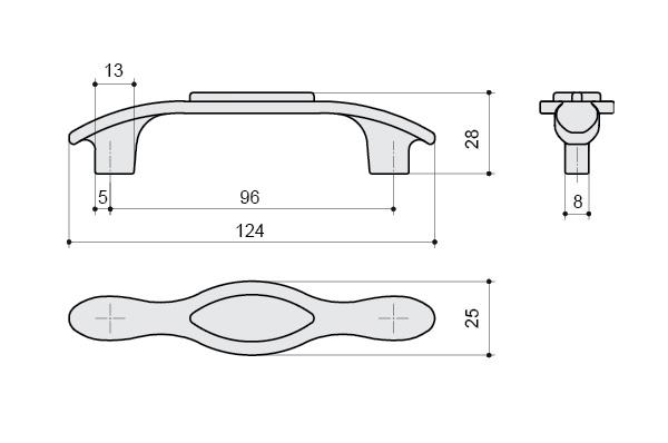 Ручка скоба 96 мм, отделка серебро и вставка Mobilclan (Италия) - 1