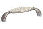Ручка скоба 96мм, отделка серебро античное и вставка Mobilclan (Италия) - 3044