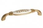 """Ручка скоба 128 мм, отделка золото матовое """"Милан"""" и керамика Mobilclan (Италия) - 3119"""