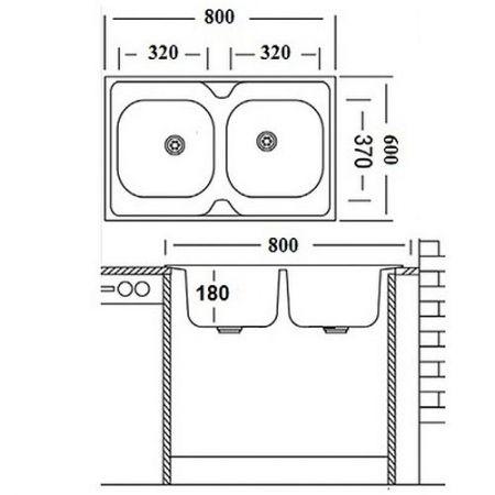 Мойка накладная двойная 60х80 см - 2