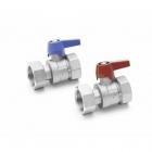 Комплект двух прямых никелированных шаровых кранов REHAU 1 дюйм для коллекторов HKV/HLV (12081221001) - 3608