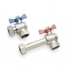 Комплект двух угловых никелированных шаровых кранов REHAU 1 дюйм для коллекторов HKV/HLV (13152241001) - 3610