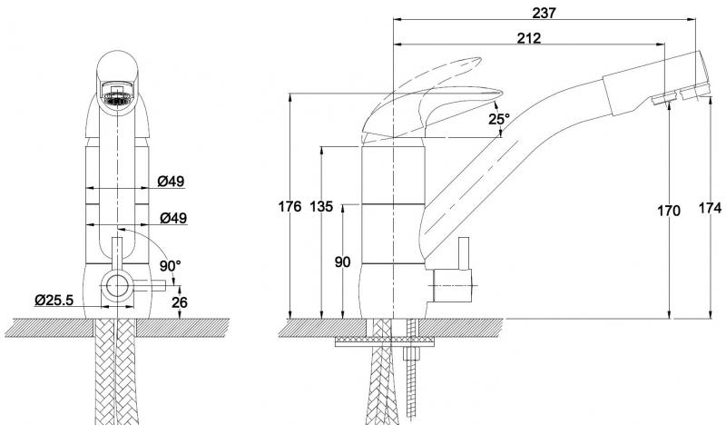 Смеситель KAISER Safira для кухни под фильтр (Германия) - 1