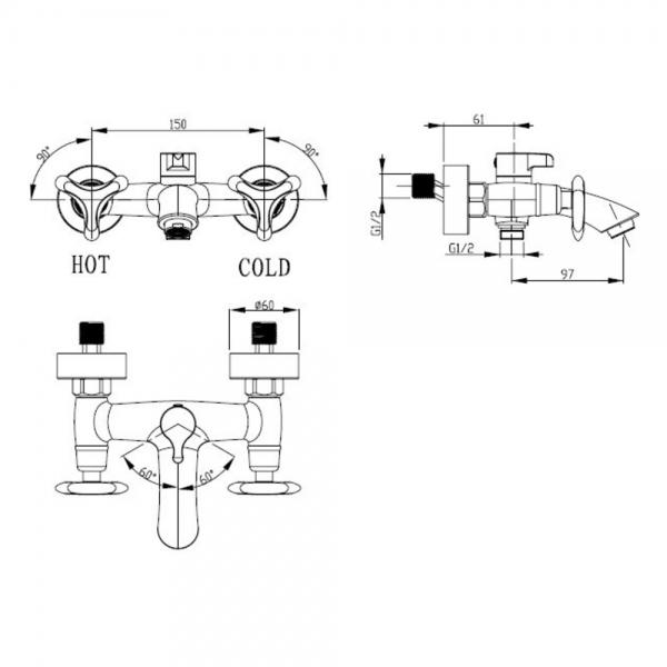 KAISER  Trio  57022  Смеситель для ванны с двумя рукоятками - 1