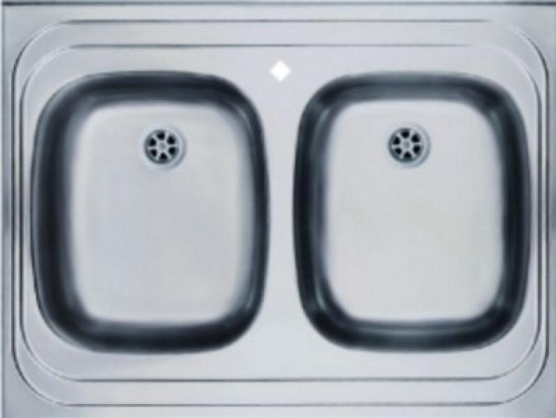 Мойка накладная 80 х 60 см из нержавеющей стали, двойная (Германия) - 1