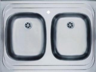 Мойка накладная 80 х 60 см из нержавеющей стали, двойная (Германия) - 2003