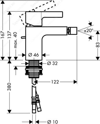 Смеситель для биде Hansgrohe Metris E (Германия) - 2