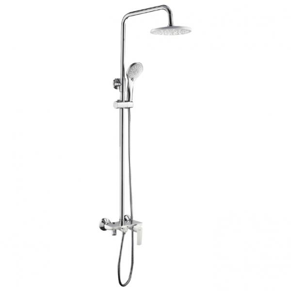 Душевая система с поворотным изливом, смесителем, верхним душем и лейкой Frap 2431 (белый/хром)  - 2