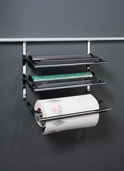 Держатель для бумаги тройной на рейлинги модерн хром матовый Linero 2000 Kessebohmer - 4