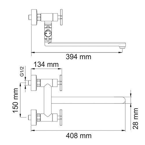 Смеситель для ванны с длинным изливом Weser 7800 Wasserkraft - 3