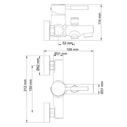 Смеситель для ванны с коротким изливом Main 4100 Wasserkraft - 4