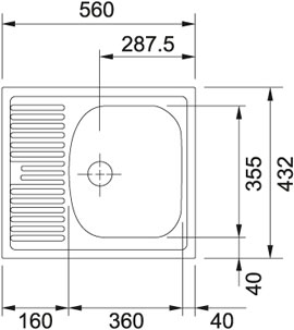 Мойка Franke EUROSTAR ETN / ETL 611-56, ширина 40 см. (Германия) - 1